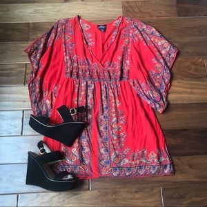 Angie Red Patterned Dress